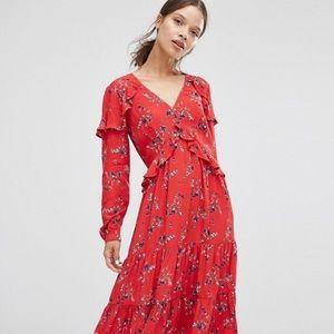 ASOS Petite V Neck Ruffle Midi Dress